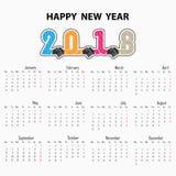 Sinal do aperto de mão e fundo 2018 do ano novo feliz Colorido cumprimente Foto de Stock