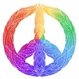 Sinal do arco-íris da paz com um teste padrão do boho Foto de Stock Royalty Free