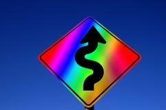 Sinal do arco-íris das curvas adiante Fotografia de Stock