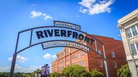 Sinal do arco do beira-rio de Montgomery, Alabama Imagem de Stock