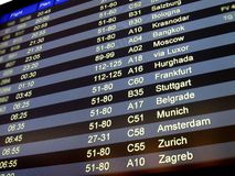 Sinal do atraso do aeroporto, programação de vôo, linha aérea, Fotos de Stock Royalty Free