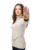 Sinal do batente da sinalização da mulher da raiva Imagens de Stock Royalty Free
