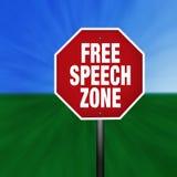 Sinal do batente da zona do discurso livre Imagens de Stock Royalty Free