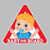 Sinal do bebê a bordo Sinal de aviso do carro Etiqueta da cor do menino a bordo ilustração do vetor