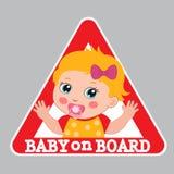 Sinal do bebê a bordo Sinal de aviso do carro Etiqueta da menina a bordo ilustração royalty free