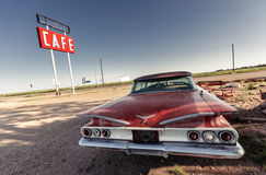 Sinal do café ao longo de Route 66 histórico fotografia de stock