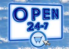 Sinal do carro de compra do Web do céu azul Fotografia de Stock