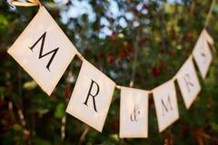 Sinal do casamento nas bandeiras Fotos de Stock Royalty Free
