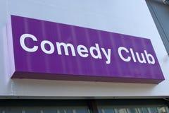 Sinal do clube de comédia Fotografia de Stock Royalty Free