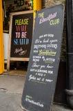 Sinal do clube do café da manhã, Hoxton Imagem de Stock