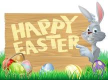 Sinal do coelhinho da Páscoa e dos ovos Fotos de Stock Royalty Free