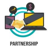Sinal do conceito do negócio da parceria com dois monitores e mãos da agitação Imagem de Stock