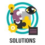 Sinal do conceito do negócio das soluções com partes, bulbo, engrenagem e olho do enigma Foto de Stock Royalty Free
