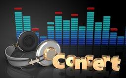 sinal do concerto dos fones de ouvido 3d Imagem de Stock