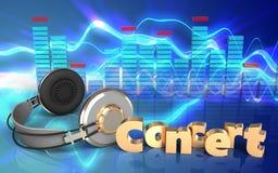 sinal do concerto dos fones de ouvido 3d Imagem de Stock Royalty Free