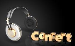 sinal do concerto dos fones de ouvido 3d Fotos de Stock Royalty Free