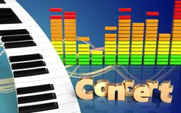 sinal do concerto do teclado de piano 3d Fotografia de Stock