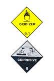 Sinal do corrosivo e do Oxidizer Fotografia de Stock Royalty Free
