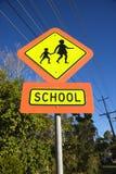 Sinal do crosswalk da escola. Fotos de Stock Royalty Free