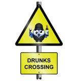 Sinal do cruzamento de Drunks Imagens de Stock
