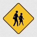 sinal do cruzamento de escola do símbolo no fundo transparente ilustração do vetor