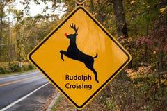 Sinal do cruzamento de Rudolph The Red Nosed Reindeer foto de stock