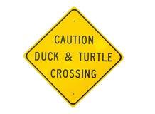 Sinal do cruzamento do pato e da tartaruga Fotos de Stock Royalty Free