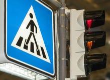 Sinal do cruzamento pedestre Fotos de Stock