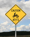Sinal do cuidado ATV Fotos de Stock Royalty Free