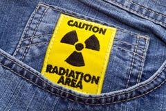 Sinal 2 do cuidado da área da radiação imagens de stock royalty free