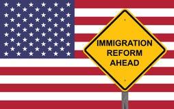 Sinal do cuidado da reforma de imigração adiante Fotografia de Stock Royalty Free