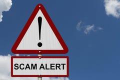 Sinal do cuidado do alerta de Scam foto de stock royalty free