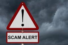 Sinal do cuidado do alerta de Scam imagens de stock