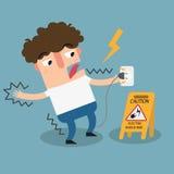 Sinal do cuidado do risco de choque elétrico ilustração stock
