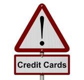 Sinal do cuidado dos cartões de crédito foto de stock