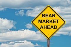 Sinal do cuidado do mercado de urso adiante Fotografia de Stock Royalty Free