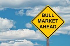 Sinal do cuidado do mercado em alta adiante Imagens de Stock