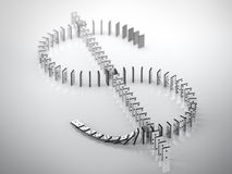 Sinal do dólar dos dominós caídos Imagens de Stock