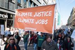 Sinal do ` de justiça do clima do ` na demonstração do protesto Fotografia de Stock