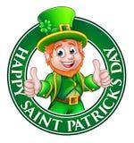 Sinal do dia do St Patricks do duende dos desenhos animados ilustração do vetor