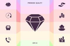 Sinal do diamante Símbolo da joia Gem Stone Projeto simples liso ilustração royalty free