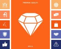 Sinal do diamante Símbolo da joia Gem Stone Projeto simples liso ilustração stock