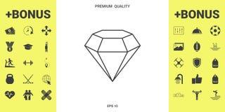 Sinal do diamante Símbolo da joia Gem Stone Projeto simples liso - linha ícone ilustração do vetor