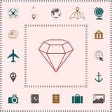 Sinal do diamante Símbolo da joia Gem Stone Projeto simples liso - linha ícone ilustração royalty free
