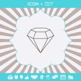 Sinal do diamante S?mbolo da joia Gem Stone Projeto simples liso - linha ?cone ilustração royalty free