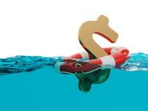 Sinal do dólar americano dentro da ilustração do nível 3d da separação do boia salva-vidas Imagens de Stock