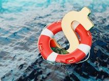 Sinal do dólar americano dentro do boia salva-vidas na ilustração da água 3d Foto de Stock Royalty Free
