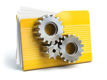 Sinal do dobrador com ícone dos geras Conce dos ajustes, do base de dados ou do arquivo Fotos de Stock
