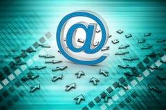 Sinal do email com ponteiro de rato Fotos de Stock