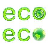 Sinal do emblema do eco da ecologia com um planeta isolado Fotos de Stock Royalty Free